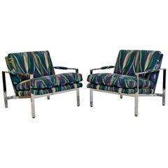 Mid-Century Modern Baughman Pair Chrome Flatbar Lounge Chairs Lenor Larsen Era