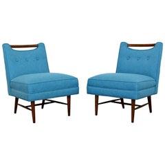 Mid-Century Modern Harvey Probber Pair of Game Slipper Chairs Wood Handles