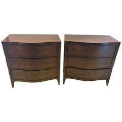 Pair of Serpentine Front Mahogany Chest or Nightstand Commodes