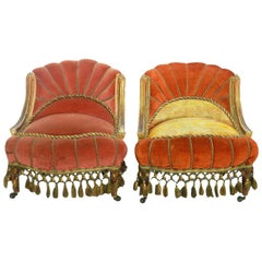Pair of Art Deco Lounge Chairs Slipper Armchairs Upholstered Giltwood Bohemian