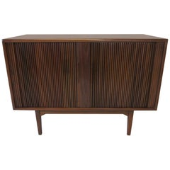 Walnut Tambour Door Media or Stereo Cabinet