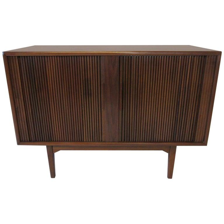 Walnut Tambour Door Media or Stereo Cabinet For Sale