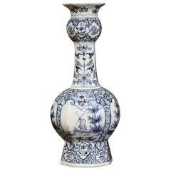 19th Century Dutch Blue and White Delft Vase with Courting and Windmill Scenes
