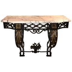 Wonderful French Wrought Iron Gilt Louis XV Marble Top Baroque Console Table