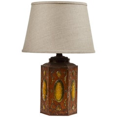 Late 19th Century Tole Decorated Tin Lamp with Custom Shade