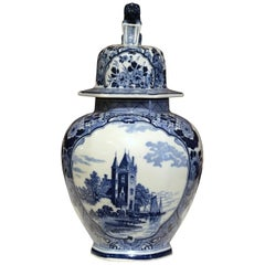Midcentury Dutch Hand-Painted Blue and White Faience Delft Ginger Jar with Lid