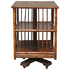 Superb 19th Century English Turning Bamboo Table on Wheels