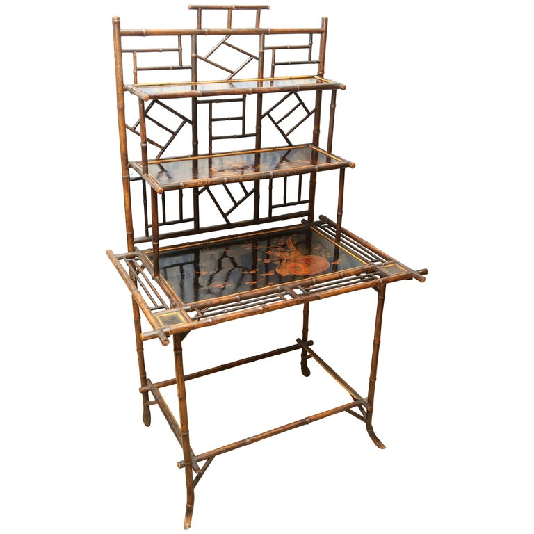 Superb 19th Century English Bamboo Server or Etagere  For Sale