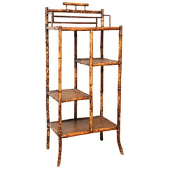Superb 19th Century English Bamboo Cabinet or Étagère with Leather Tops