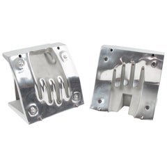 Industrial Polished Stainless Steel Hand Mold Sculpture Bookends, a Pair
