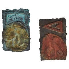 Pair of Cast Bronze Brutalist Plaques