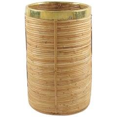 Italian 1970s Brass and Rattan Bamboo Wicker Planter or Umbrella Stand