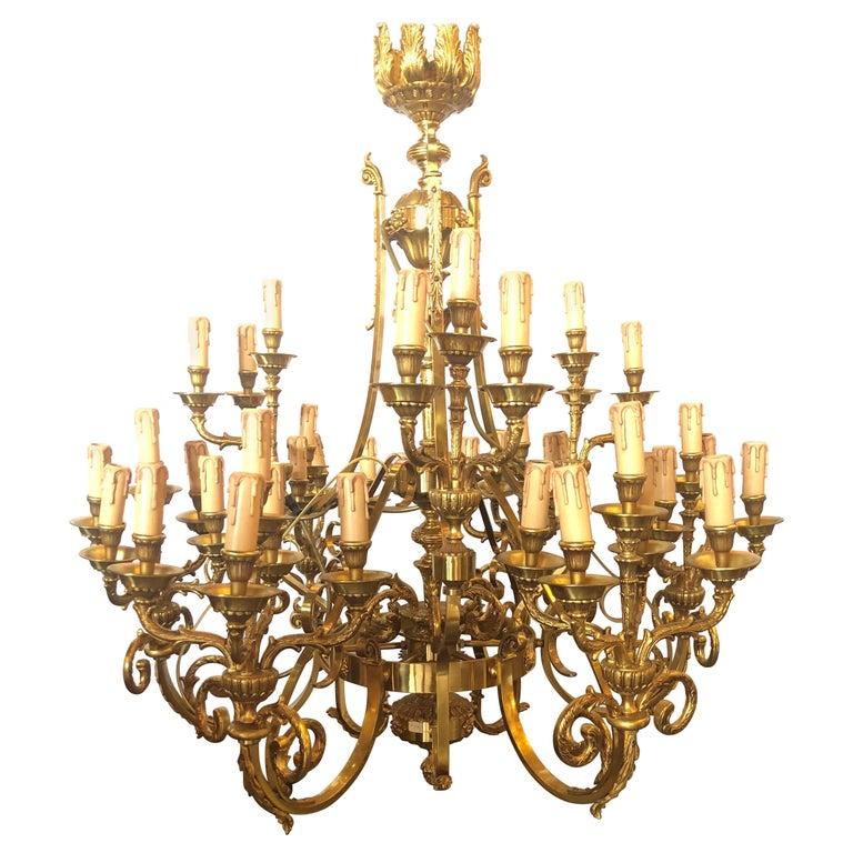 Monumental Bronze Thirty-Nine-Light Baroque Chandelier