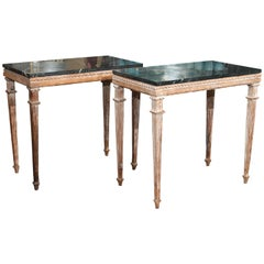 Pair of Marble-Top Side Tables or Consoles