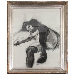 Nude with Black Stockings Drawing in 19th Century Frame