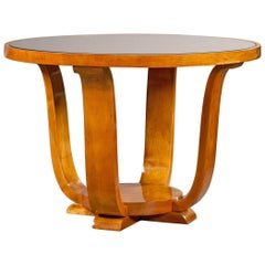 French Art Deco Cherrywood Mirror Top Table, circa 1935