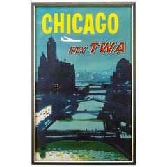 Chicago Fly TWA Travel Poster by Austin Briggs, circa 1964