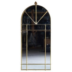 Vintage Modern Italian Brass Arch Top Windowpane Mirror, circa 1970