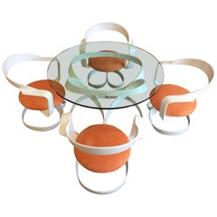 1970s Sculpted Steel Dining Set