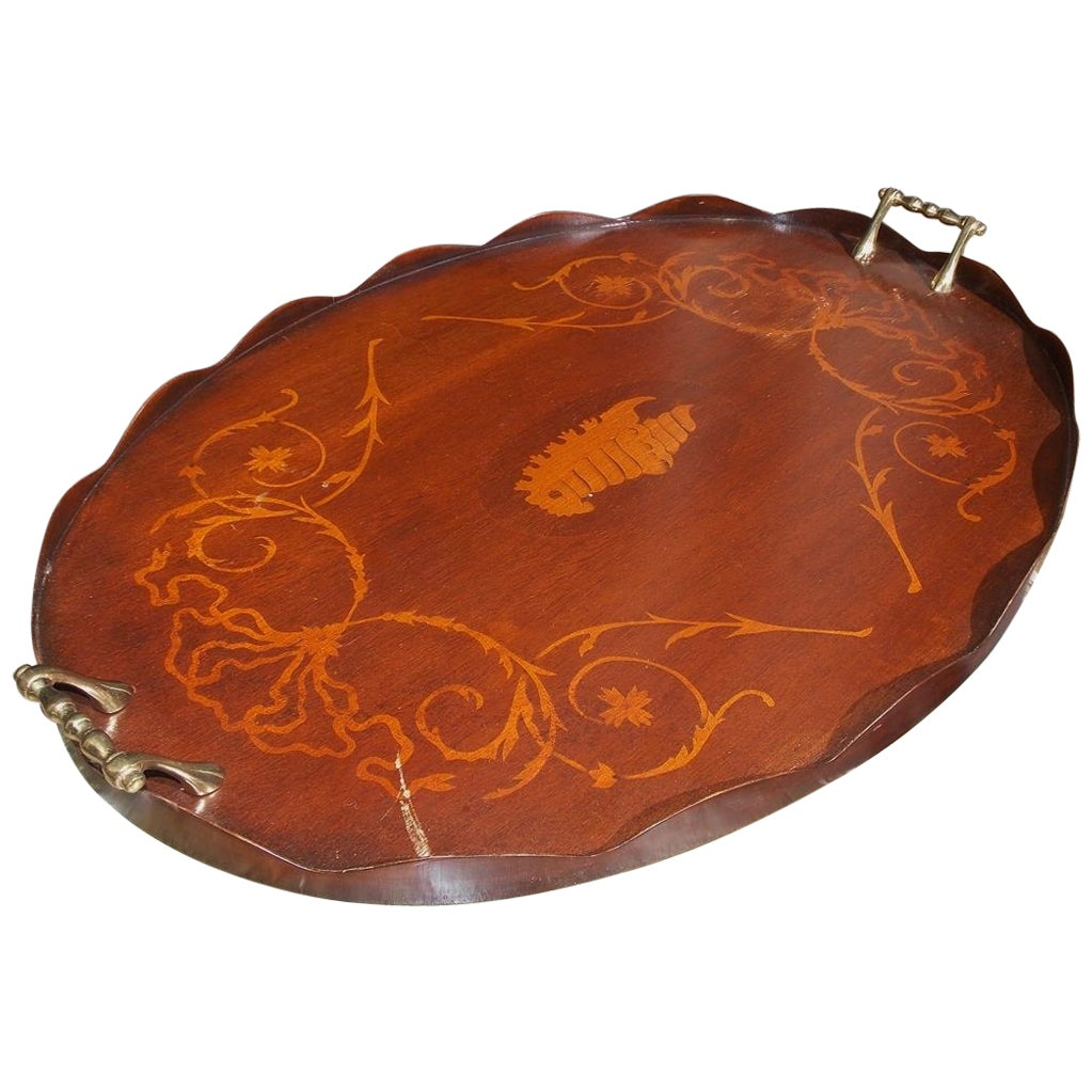 English Mahogany Oval Inlaid Serving Tray with Brass Side Handles. Circa 1810