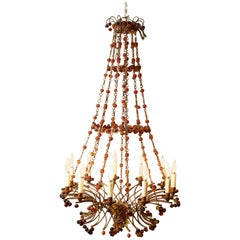 1900s French Chandelier with Amber Beads