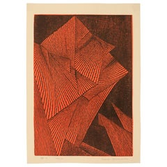 "1962 Graphic Woodblock Print  ""Faces #3"" by Tomio Kinoshita, Japan"