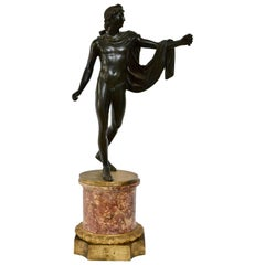Patinated Bronze Sculpture of Apollo with an Ormolu Mounted Marble Base