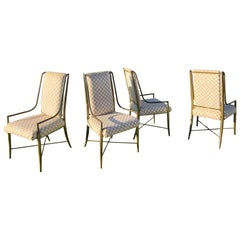 Imperial Chair set of 4 Weiman/Warren Lloyd for Mastercraft Faux Bamboo Brass