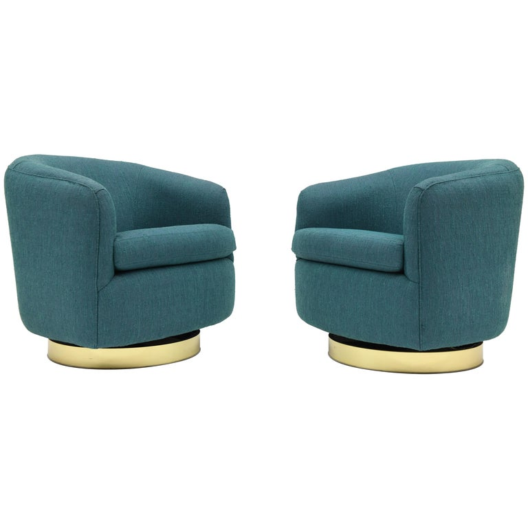 Pair of Thayer Coggin Signed Swivel Tilt Barrel Lounge Chairs by Milo Baughman