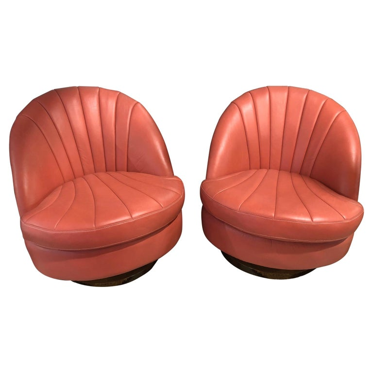 Pair of Leather Milo Baughman Style Swivel Lounge Chairs