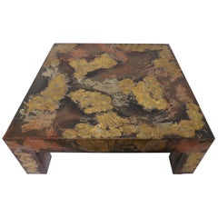 Brutalist Patinated Metal Parsons Style Coffee Table in the Manner of Paul Evans