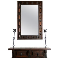 Spanish Revival Style Wall Hanging Console Table & Mirror after Artes De Mexico