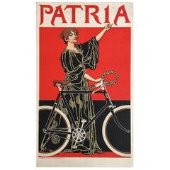 Original Vintage Bicycle Poster, 'Patria' French Lithograph Poster, 1900