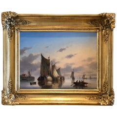 """Hay Barges on Calm Waters"" 19th Century Dutch School"