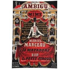 Original Vintage Cabaret and Theatre Lithograph Poster, 'Marcel Marceau', 1950