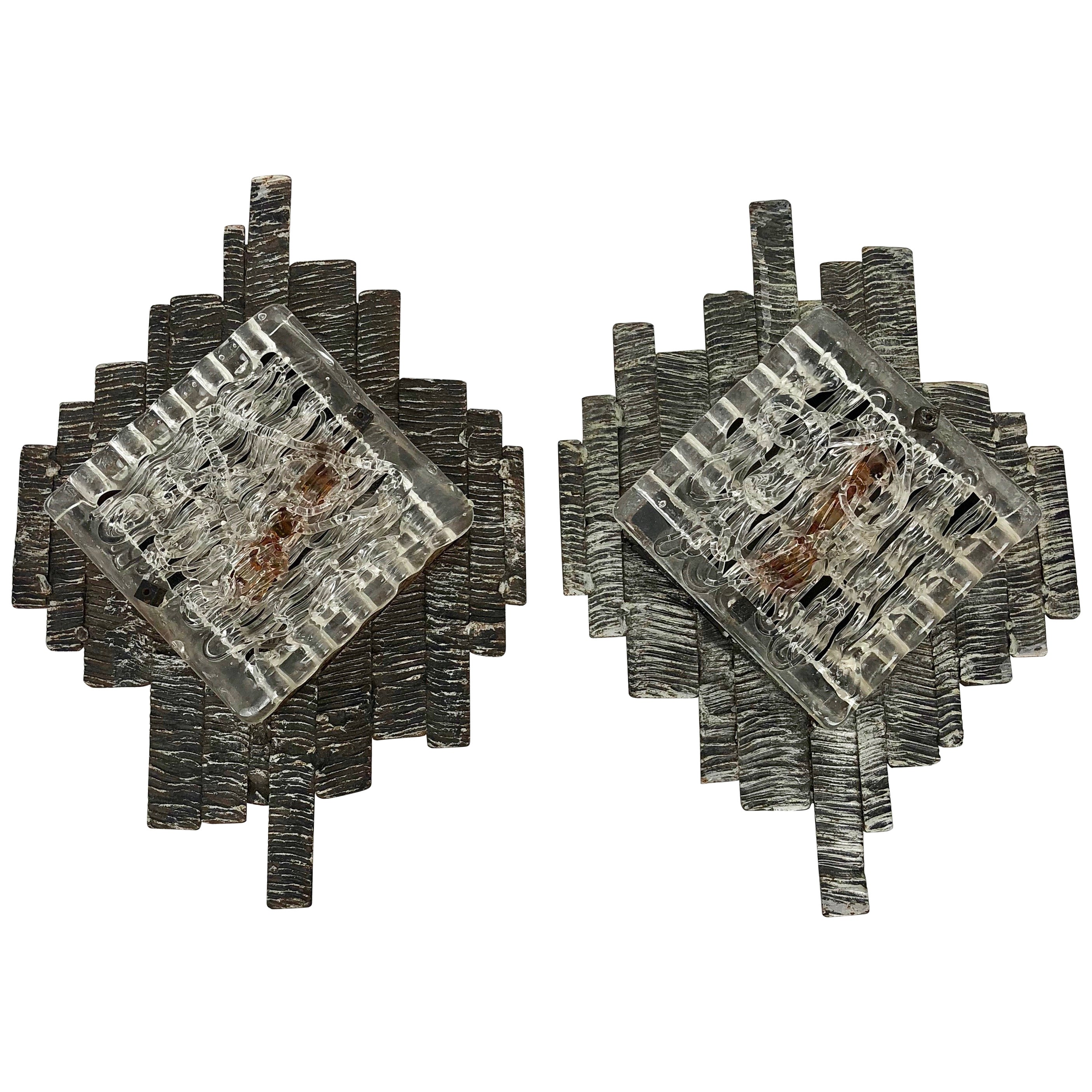 Pair of Brutalist Wall Sconces, in Style of Poliarte, Italy, 1970s Murano Glass