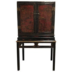 Antique 18th Century Chinese Red and Black Lacquered Cabinet