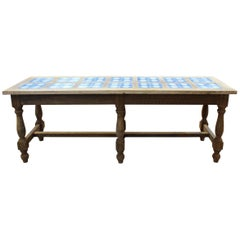 1980s Spanish Kitchen Table with Glazed Ceramic Tiled Top