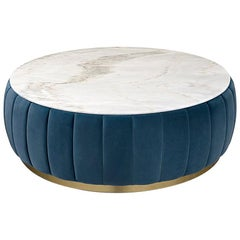 Lounge Dinner Round Coffee Table with White Marble Top