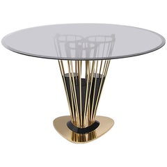 Marshal Dinning Table with Polished Brass Structure