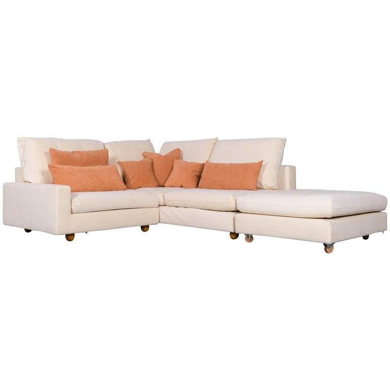 Pro Seda Designer Verlours Fabric Sofa Beige Corner Couch Modern For