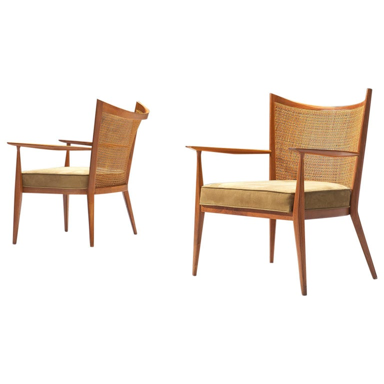 Paul McCobb Lounge Chairs in Teak and Cane