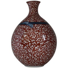 Japanese Imari Hand-Painted Red Porcelain Vase by Contemporary Master Artist