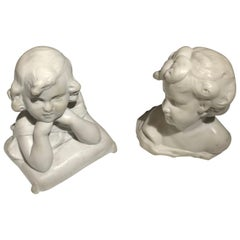 Pair of Antique Italian Sculpture of Cherub 19th Century Statuary White Marble