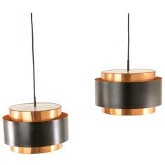Pair of Copper 'Saturn' Pendants by Jo Hammerborg for Fog & Mørup, 1960s