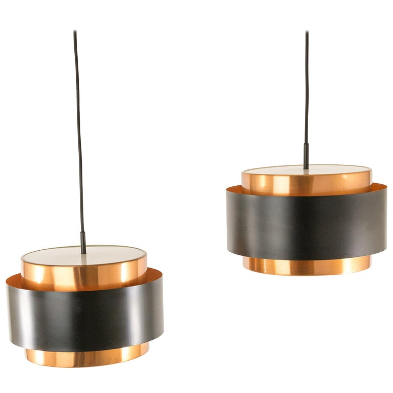 Pair of Copper 'Saturn' Pendants by Jo Hammerborg for Fog & Mørup, 1960s For Sale