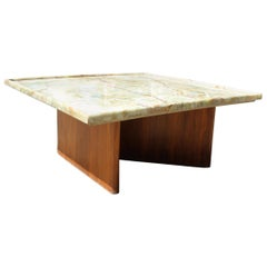 1980s Spanish Coffee Table with Onyx Top and Wooden Base