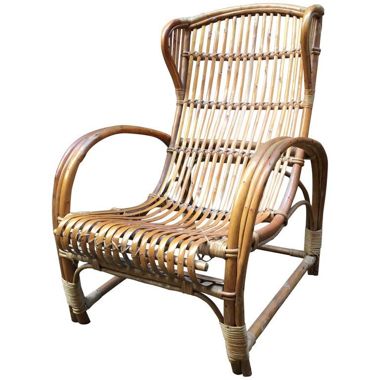 Italian Rattan Wingback Armchair
