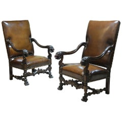 Pair of Walnut Lois xiii Style Throne Chairs