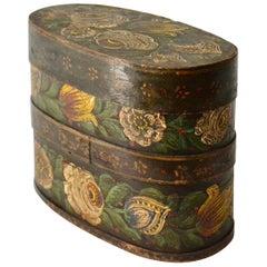 Swedish Country/Folkart Flower  Painted Wood Box, 19th Century